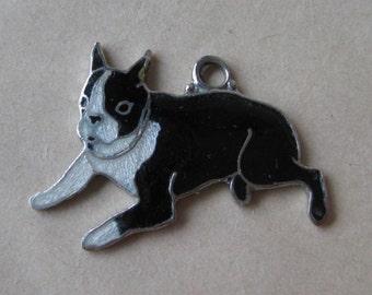 Boston Terrier Dog Puppy Charm Sterling Enamel Black White Cloisonné Vintage 925 Silver