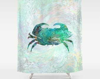 Shower Curtains Art Shower Curtain Bathroom Turquoise Crab Design 41 Home decor digital art L.Dumas