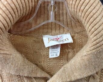 Vintage 1970's 1980's Jantzen Camel tan polo neck pullover Made in USA L-XL
