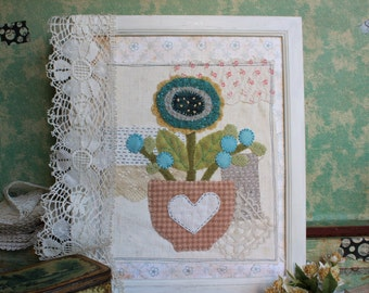 Mixed media wall art shabby chic blue flowers applique hand embroidered collage art wedding birthday gift