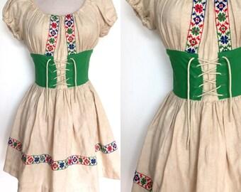 70s Boho Tyrolean Dress | 70s Embroidered Corset Dress | Pretty 1970s Bohemian Peasant Mini Dress