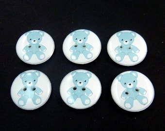 "Blue Teddy Bear Buttons.  Set of 6 handmade buttons. Sewing buttons. 3/4"" or 20 mm.  Washer and Dryer Safe.  Children's Buttons."