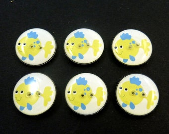 """6 Fish Buttons.  Yellow and Blue Fish Buttons.  3/4"""" or 20 mm Sewing, Knitting, Crochet Findings."""