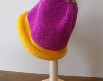 Kid's Girls Fun Hand Knitted  Pink Warm Hat