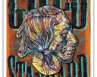 """Buffalo Coin Gold Standard Art Print - Poster - 12 x 18"""" - Native american coin collector buffalo gold"""