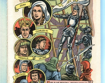 1950s Joan of Arc Illustrated Classic Book Graphic Comic Book Hardcover Color Graphics Classic Jean D Arc Martyr Saint History Illustrations