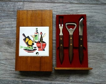 Midcentury Barware Set, Set of Stainless Steel Fork, Knife, and Bottle Opener with Wood Handles, All in Wood Box with Vintage Ceramic Tile!