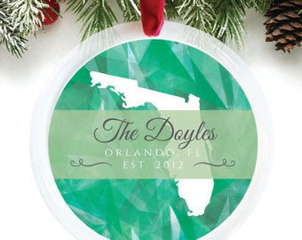 Florida Love holiday ornament, custom last name ornament, personalized christmas ornament featuring your name and state // C-P96-OR ZZ2