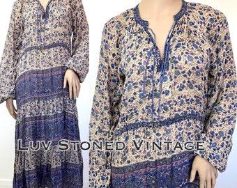 Vtg 70s Indian Cotton Boho Hippie Gauze Gypsy Festival Midi Dress with D091 . M . 1246.1.30.17