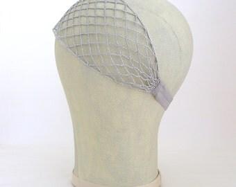 Great Gatsby Style Headband, Art Deco Headband, Silver Headband, Silver Mesh, Headband, Bridal Headpiece, Wide Headband, Silver Net