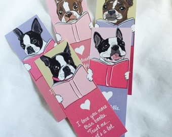 Love Boston Terrier Bookmarks - Eco-friendly Set of 5