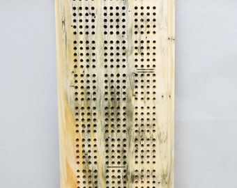 Cribbage Board - 2 to 4 Player Player- FREE Shipping - Complete with pegs, cards, storage bag - Beetle Kill Pine Wood