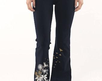 Dandelions Yoga Pants, Dandelions print, Birds in Flight Yoga hippee gypsie Dance, Workout Pants, Gift for Her