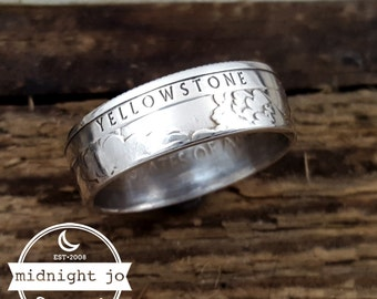 Coin Ring 90% Silver Yellowstone National Park Your Size MR0702-TNPYE