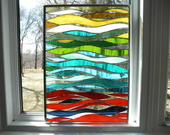 Waves of Color- Stained Glass Panel