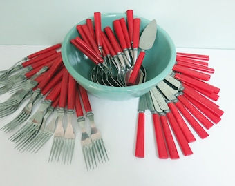 55 Piece Set of Sta-Brite Flatware, Stainless Steel with Cherry Red Bakelite Handles: 18 Forks, 18 Knives, 18 Soup Spoons & 1 Spreader