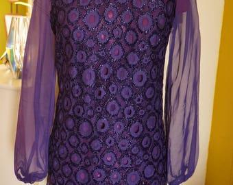 vintage purple gogo mini dress tunic space age sheer metallic circle 60s 70s 1960s 1970s vintage mod twiggy