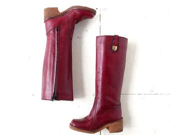 Etienne Aigner Boots | Vintage 1970s Boots | Oxblood Leather Boots | Size 5