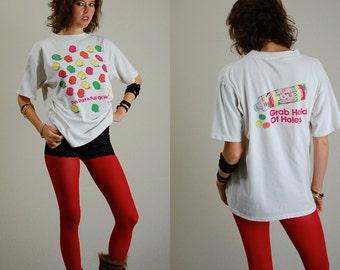 Lifesavers T Shirt Vintage 1991 White Lifesavers Holes Slouchy Distressed Indie T Shirt (m l)