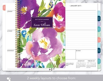 personalized planner 2017 & 2018 calendar | add monthly tabs custom weekly student planner | planner agenda | violet watercolor floral