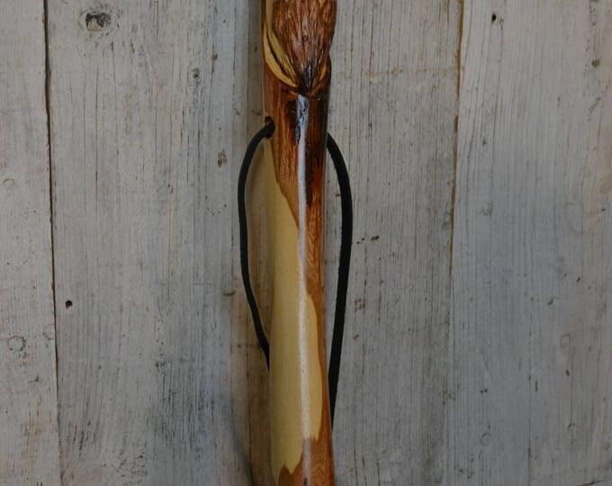"Wood Spirit Walking Stick, 60"" Handcarved Woodspirit Hiking Stick, Hand-carved Mountain Man Wood Carvers of Etsy 1658"