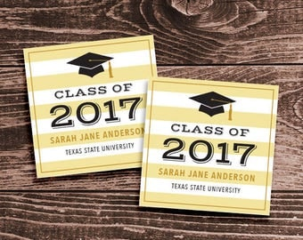Personalized Graduation Party Favor Tags or Stickers – DIY Printable – Gold Stripes (Digital File)
