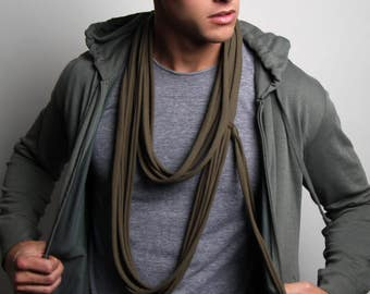 Dark Green Scarf, Long Scarf, Mens, Womens, Jersey Cotton