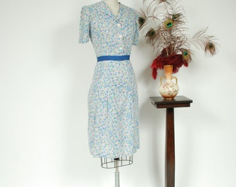 Vintage 1930s Dress - Adorable Floral Print Cotton 30s Day Dress in Pink and Blue with Attached Belt - Fairway