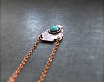 Amazonite Arrowhead Necklace - Gemstone Pendant, Teal Blue Stone, Peach Brown Copper, Dark Oxidized Patina, Boho Metalwork Jewellery