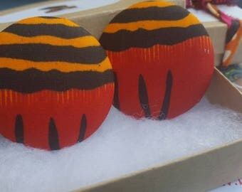 Orange and red fabric button earrings, Gifts for her, Gifts for women
