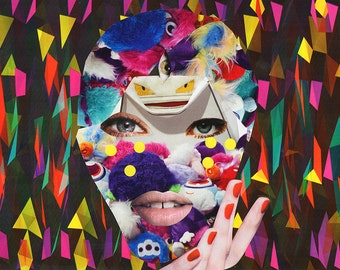 Magic Eye V / Collage Print /  Illusion / Collage Art (sizes a4 - a3)