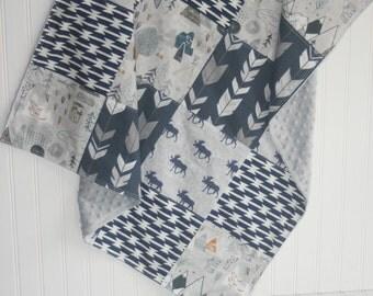 tribal baby blanket- aztec baby blanket-patchwork minky baby blanket-moose baby blanket-  baby blanket- baby boy blanket- baby bedding