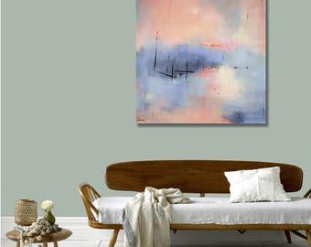 Ready to Hang Expressive Abstract Landscape, Canvas Print, Large Sunrise Print, Sunset, Modern Art, Coastal Decor, Colorful, West Elm Artist