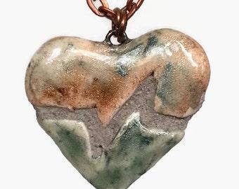 Beating Heart Necklace - EKG Heartbeat - Interchangeable Ceramic Pendant