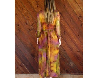 Tie Dye Rainbow Silk l/s Sheer Maxi Gown Dress - Vintage 60s - S