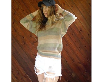 Slouchy Stripe Knit Pullover Sweater - Vintage 90s - S