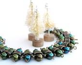 Teal Green Bracelet, Christmas Bracelet, Vintage Beaded Bohemian Bracelet