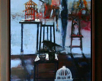 Original Oil Painting On Canvas Still Life Realism Cages Birds Chairs Title Perfect Distance By BobbieJansen on Etsy