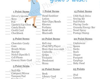Instant Download - What's In Your Purse Shower Game - Pregnant Mama Blue - Printable PDF