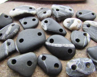 Natural Stone CONNECTORs Beads ~ Beach Stone LINKS ~ Stone Buttons ~ Stone Supply