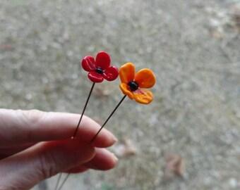 Fairy garden, small glass flower poppy pair (two) in red or orange (or one of each), fairy garden supply, terrarium, fairy garden kit MTO