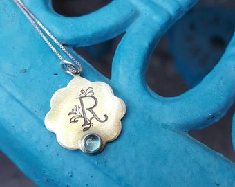 Monogram brass pendant, Initial Pendant, Personalized initial necklace, Custom handstamped Jewelry, Handstamped Pendant