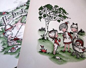 Joan Walsh Anglund Prints, Vintage Prints, Vintage Children, Anglund Sampler Prints, 1960 Prints, Vintage Nursery Decor, Child's Room Art