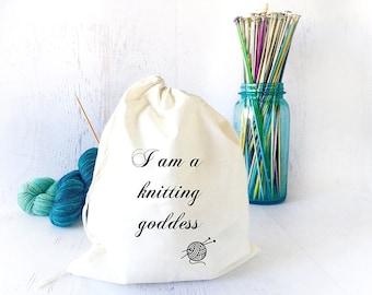 Portable Knitting Bag- Project Bag- Yarn Bag- Knitting Tote- Tote Bag- Drawstring Bag- Sock Knitting Bag- Yarn Storage- Knitting Meme