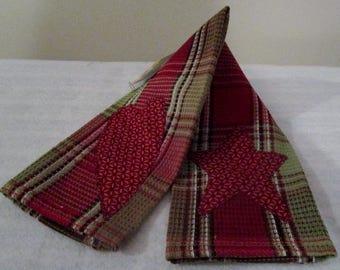 Burgundy and Sage Heart Star Applique Kitchen Towel