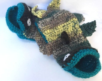 Blue Fishy Socks // House Slippers // Size S/M Women's 5-8 Men's 3.5-6.5 // One of a Kind Animal Slippers