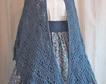 Country Blue Shawl for Historical Costume - Victorian Wrap - Civil War Accessory - Hand Crocheted - Ready to Ship - Slate Blue - SHAWL ONLY