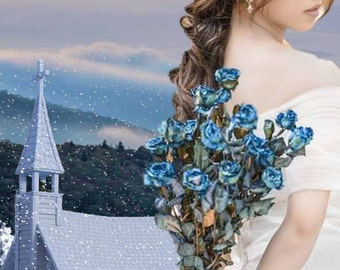 Kindle ebook book cover, Premade, Romance, Historical, Wedding, Bride, Groom, Church, Winter, Snow