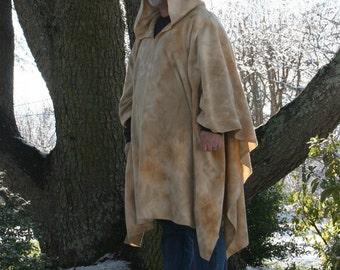 Beige Marble Tie Dye Hooded Fleece Poncho with Vneck or Open Front Sandstorm Garb