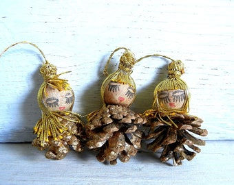 3 Vintage Christmas Spun Head Pine Cone Ornaments | Blond Spun Cotton Heads | Spun Head Pinecones